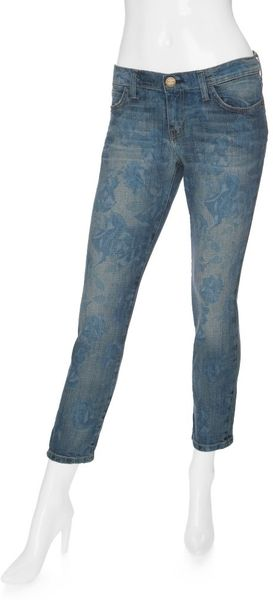 Current/elliott Faded Floral Skinny in Blue (denim) - Lyst