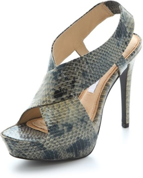Diane Von Furstenberg Zia Embossed Platform Sandals in Gray (grey)