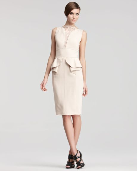 Elie Saab Laceinset Cocktail Dress in Beige (pearl) - Lyst