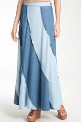 Free People Two Tone Chambray Swirl Maxi Skirt - Lyst