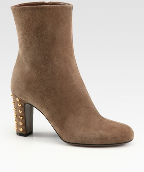 gucci jacquelyne studded suede ankle boots in brown lyst