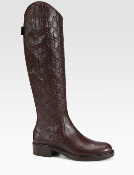 gucci maud leather knee high boots in brown cocoa lyst