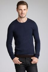 Gucci Navy Wool Crewneck Sweater - Lyst