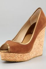 Jimmy Choo Papina Suede Cork Wedge - Lyst