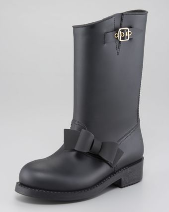 RED Valentino PVC Bow Detail Rain Boot - Lyst