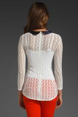 Smythe Crochet Peter Pan Top  in White (white & navy) - Lyst