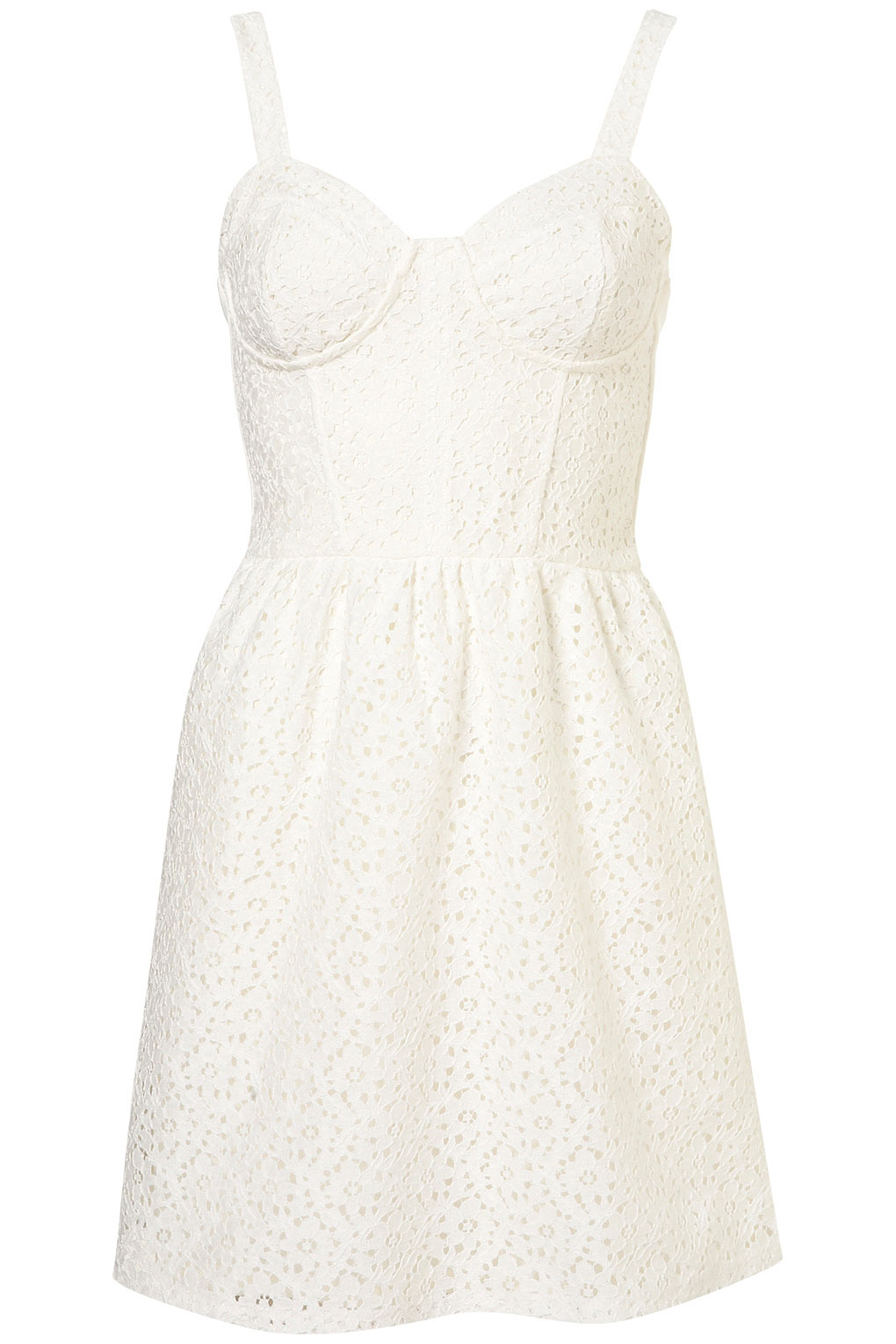 Topshop Lace Corset Flippy Tunic Dress in White | Lyst