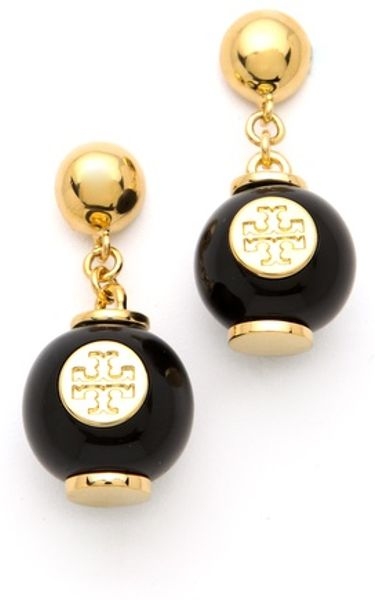 Tory Burch Perez Bead Dangle Earrings in Gold (black) - Lyst