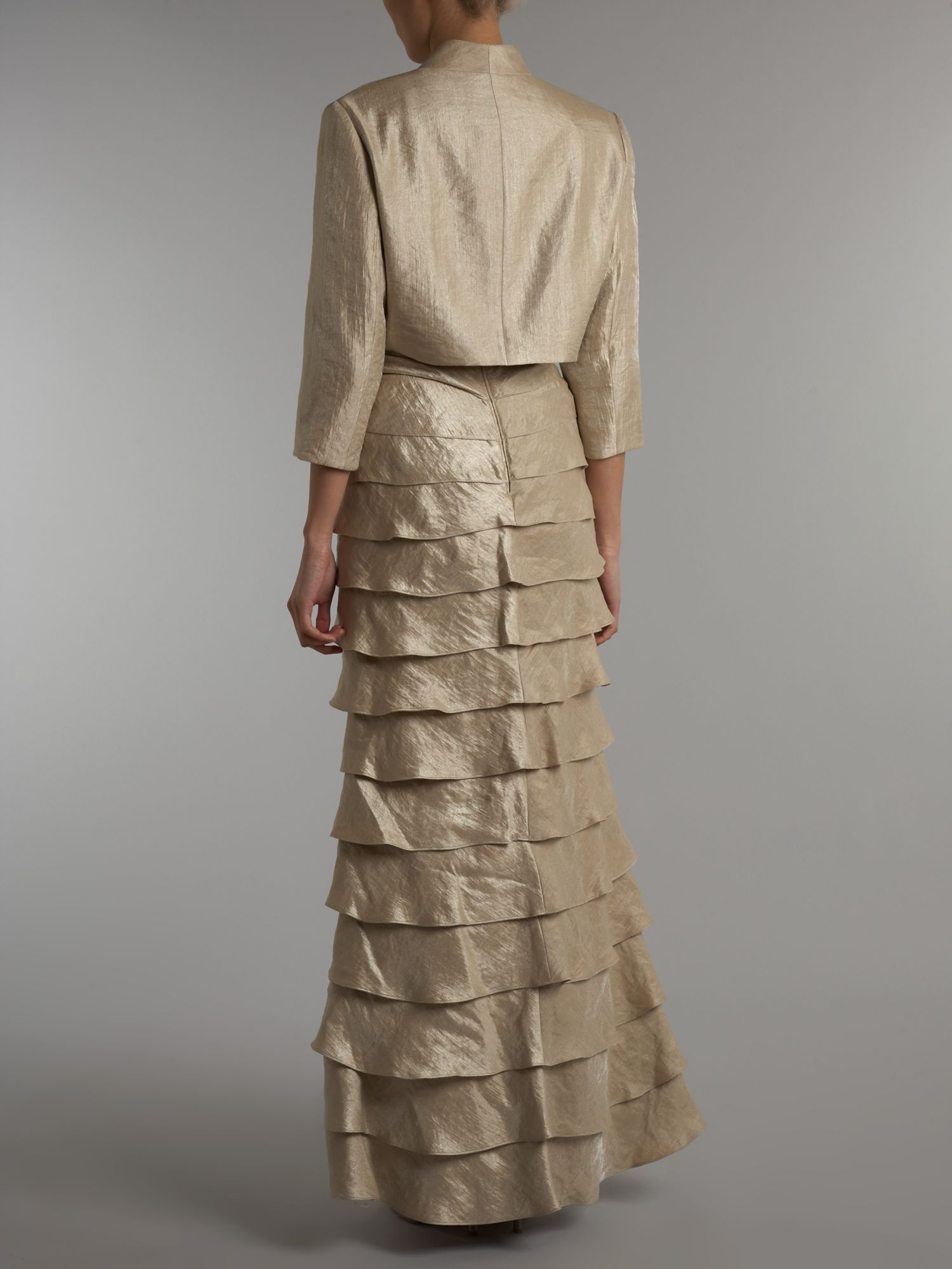 Lyst - Adrianna Papell Shutter Pleated Gown with Bolero in Natural