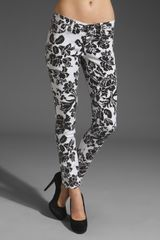 Ag Adriano Goldschmied Ankle Legging in Whiteblack Floral Graphic - Lyst
