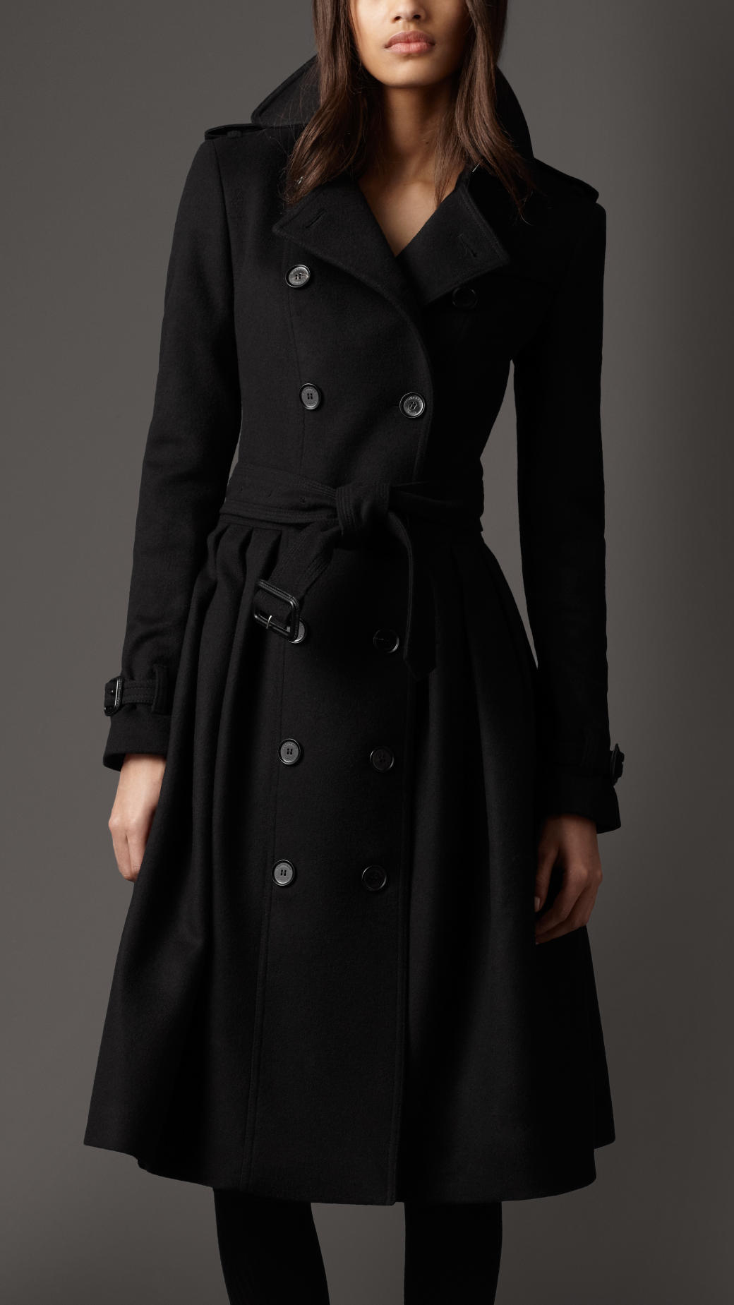 Burberry Full Skirt Virgin Wool and Cashmere Coat in Black | Lyst