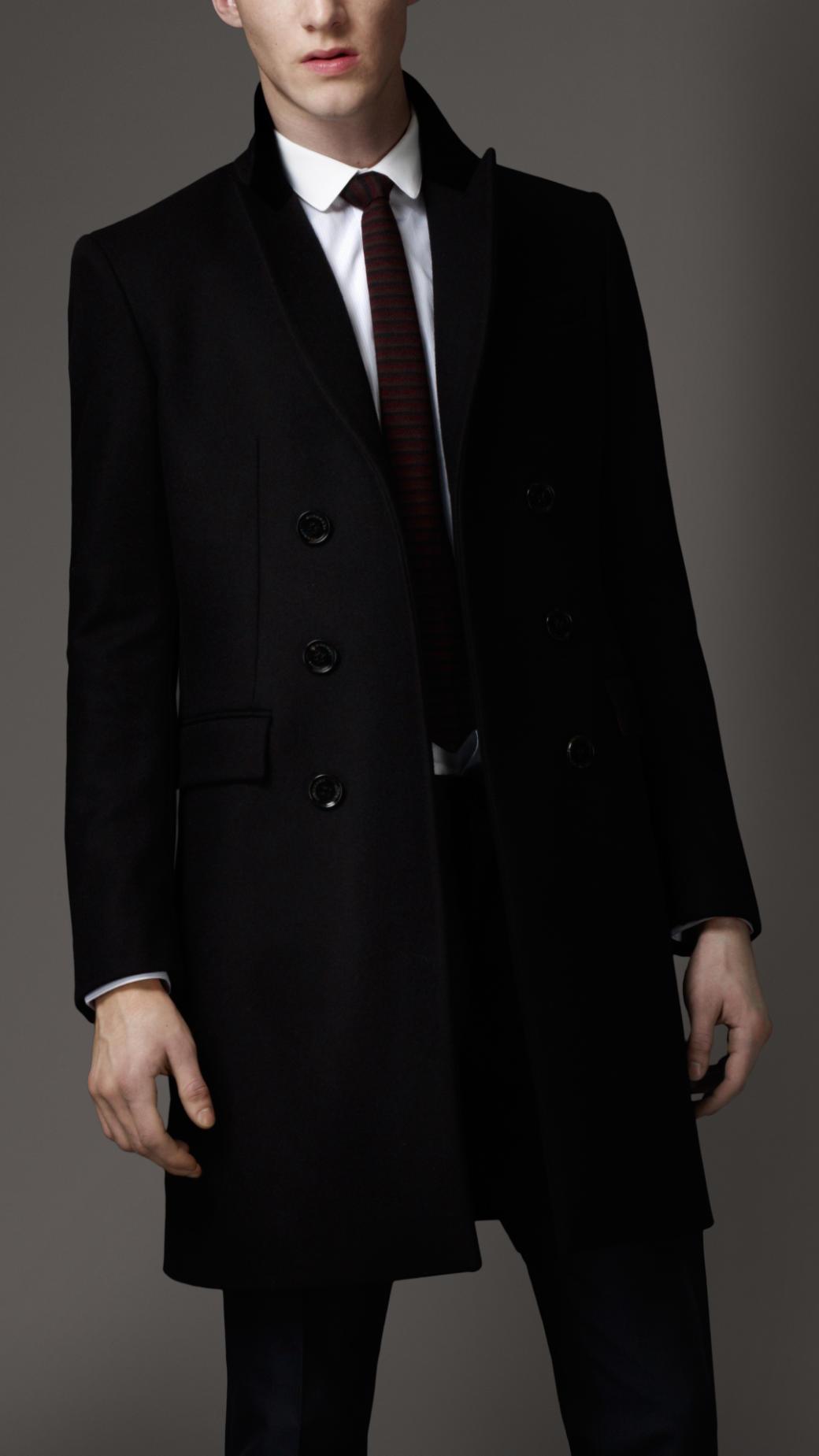 Burberry Velvet Collar Top Coat In Black For Men Lyst