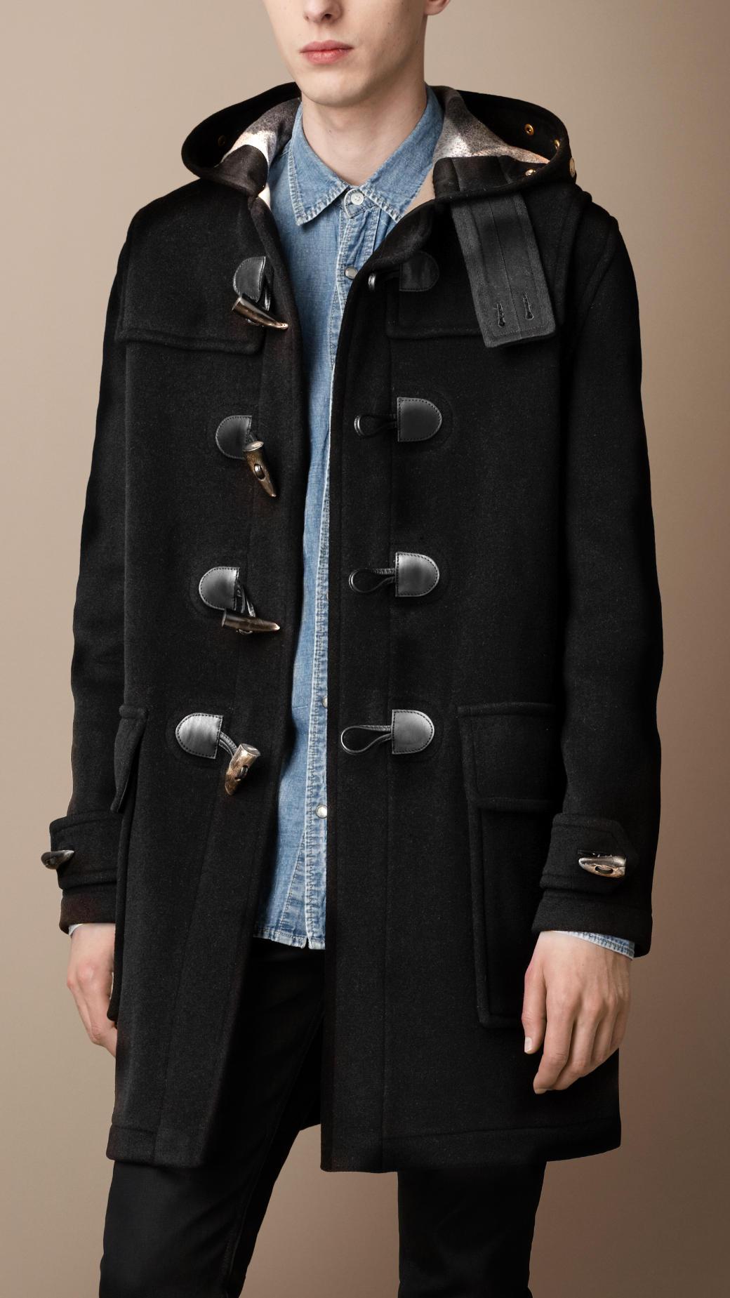 burberry doublefaced wool duffle coat in black for men lyst. Black Bedroom Furniture Sets. Home Design Ideas
