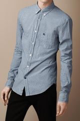 Burberry Brit Micro Check Cotton Shirt - Lyst