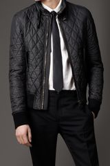 Burberry Leather Detail Quilted Blouson - Lyst