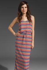 C&c California Printed Stripe Slub Jersey Tank Maxi Dress - Lyst