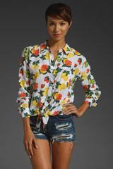 Equipment Daddy Tie Front Orchard Floral Blouse - Lyst