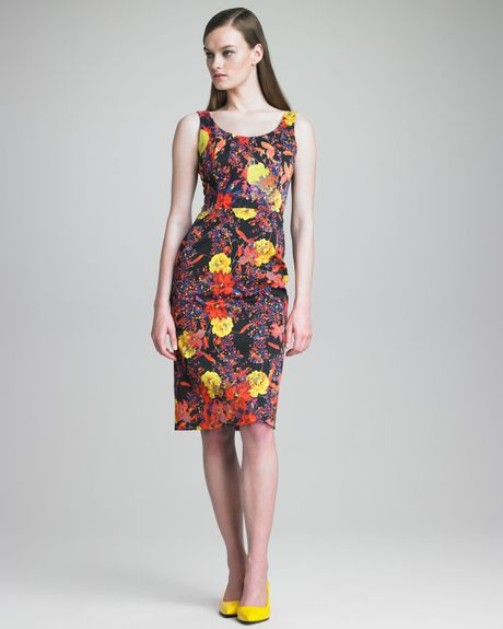 Erdem Edith Fitted Tank Dress in Multicolor (black multi)