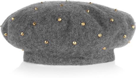 Gucci Studded Woolfelt Beret in Gray - Lyst