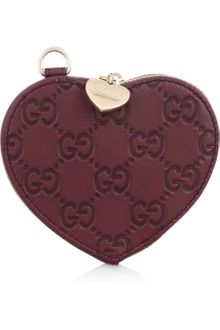 Gucci Monogrammed Leather Heart Coin Purse - Lyst