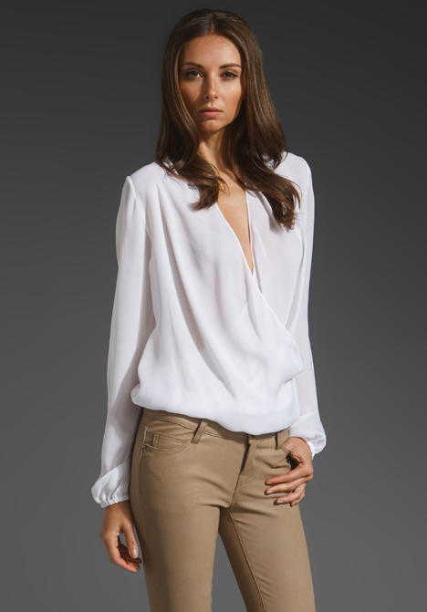 Collection White Wrap Blouse Pictures - Reikian