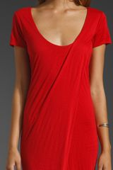 Improvd Jersey Short Sleeve Maxi Dress with Slit in Red - Lyst