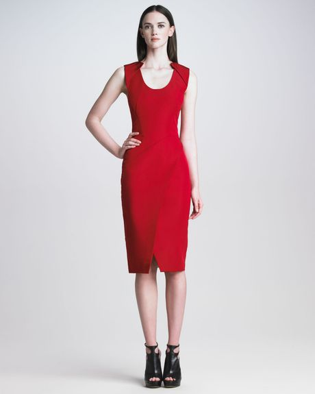 J. Mendel Sleeveless Silk Faille Dress in Red (scarlet) - Lyst