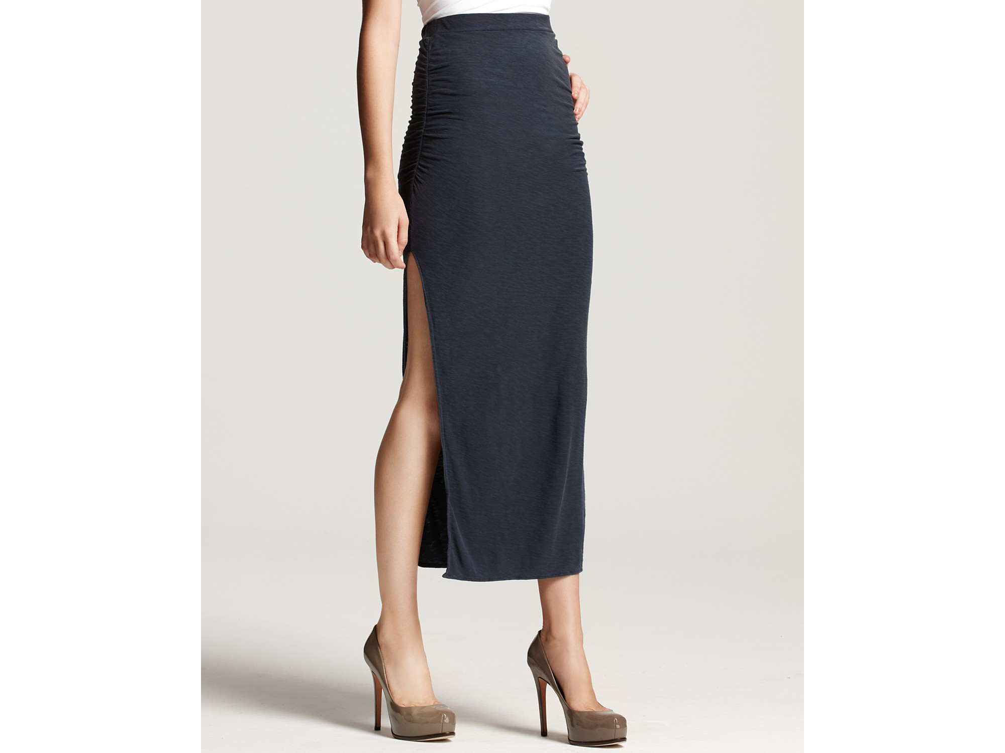 side slit maxi skirt in black navy lyst