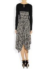 Jason Wu Printed Silk Crepe De Chine and Jersey Dress in Gray (black) - Lyst