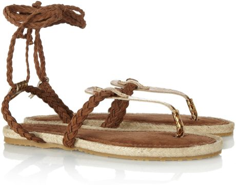Jimmy Choo Peppin Snakeskin and Suede Sandals in Gold - Lyst