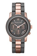 Michael Kors Chronograph Rose Gold Tone Stainless Steel and Gray Silicone Bracelet 39mm - Lyst
