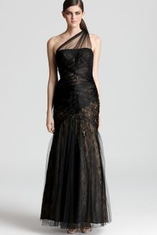 Ml Monique Lhuillier One Shoulder Gown Tulle Overlay - Lyst