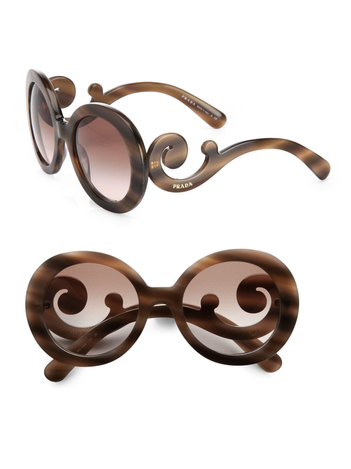 5681ad24d51c ... coupon for lyst prada baroque sunglasses in brown 20f65 113e0