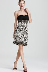 Sue Wong Strapless Dress Contrast Lace - Lyst