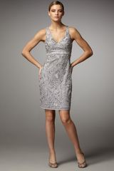 Sue Wong Lace V-neck Sheath Dress - Lyst
