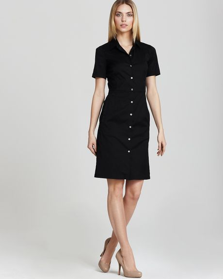theory button front dress timandra impeccable collar in