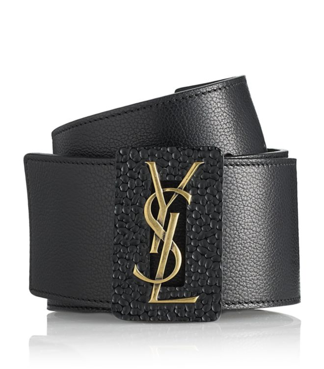 Saint Laurent Logo Buckle Belt In Brown Lyst