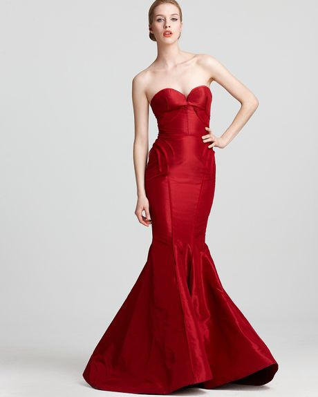 Zac Posen Strapless Gown Sweetheart in Red (poppy) - Lyst