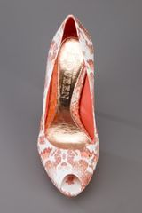 Alexander Mcqueen Python Skin Peep Toe Pump in Orange - Lyst