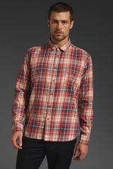 Cheap Monday Neo Shirt in Blueredbeige Check - Lyst