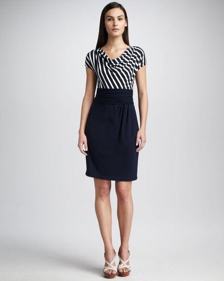 Dkny Striped Drapeneck Dress in Blue (fnavy) - Lyst