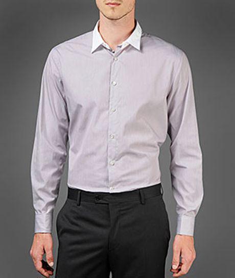 John Varvatos Slim Fit Double Layer Collar Shirt In Purple
