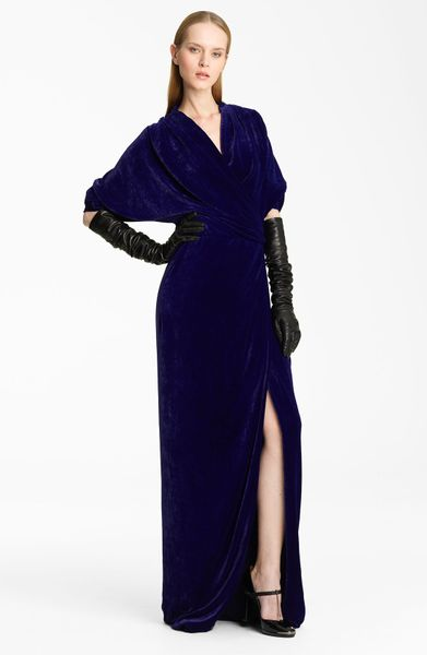 Lanvin Faux Wrap Velvet Gown in Purple (violet)