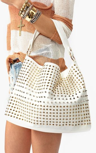 Nasty Gal Totally Studded Bag White - Lyst