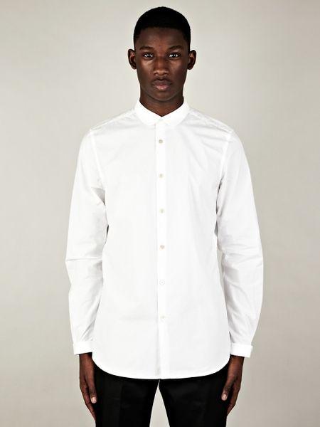 Paul smith paul smith round collar shirt in white for men for Round collar shirt men
