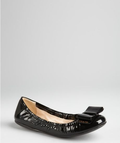 Prada Black Patent Leather Large Bow Ballet Flats In Black