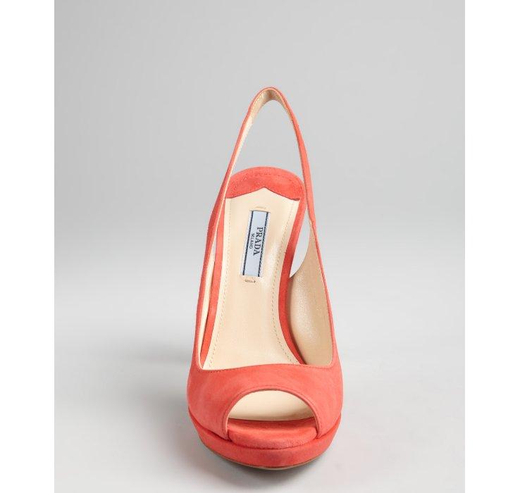 Lyst Prada Coral Suede Peep Toe Slingback Sandals In Orange