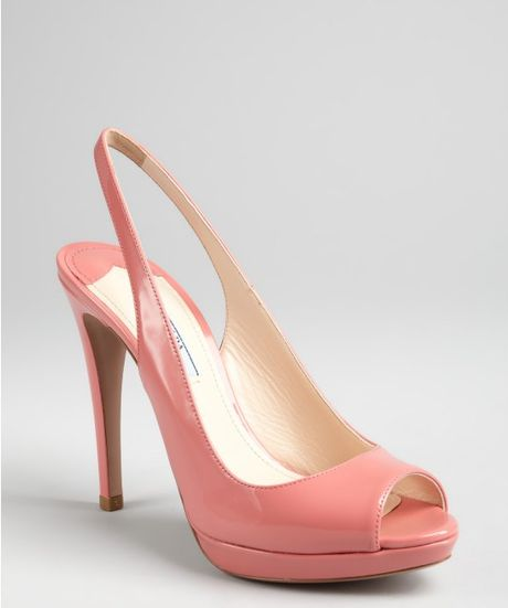 Prada Soft Pink Patent Leather Peep Toe Slingback Pumps in Pink - Lyst