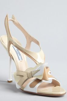 Prada Tan and White Patent Leather Cutout Sling Back Sandals - Lyst