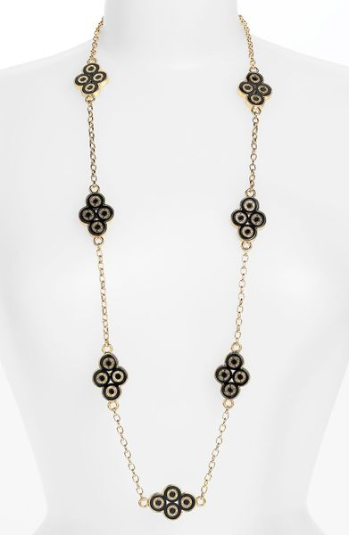 Tory Burch Cole Enamel Clover Necklace in Black - Lyst